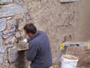 ..first layer of new lime mortar added..