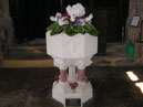 Floral display on the font