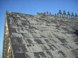 the poor condition of the decorative ridge tiles and roof