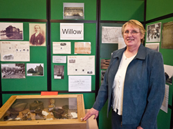 Barbara Newman with the Gale miniatures and display