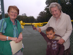 Mrs Barabara West and her grandson performing the Opening Ceremony with Village Hall Vice Chair Mrs Joan Sangar