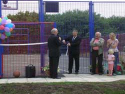 John Mann MP performing the Opening Ceremony, District Councillor Ken Bullivant, Cheryl Rayner from WREN and MUGA Committee Colin Gibson